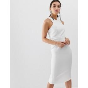 リバーアイランド レディース ワンピース トップス River Island midi dress with high neck in white White