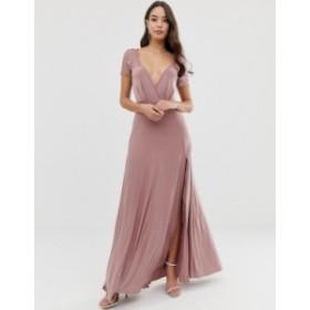 エイソス レディース ワンピース トップス ASOS DESIGN Scallop Lace Top Pleated Maxi Dress Rose