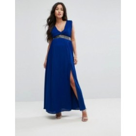 エイソス レディース ワンピース トップス ASOS Maternity Embellished Waist Strap Back Maxi Dress Cobalt