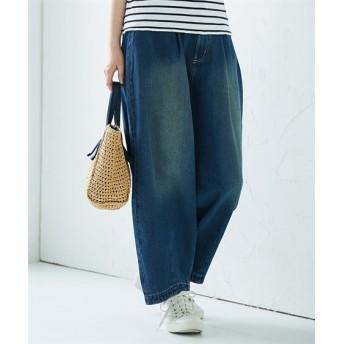 バルーンタックデニムパンツ (レディースパンツ),pants
