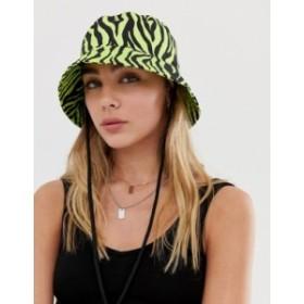 エイソス レディース 帽子 アクセサリー ASOS DESIGN neon zebra bucket hat Multi