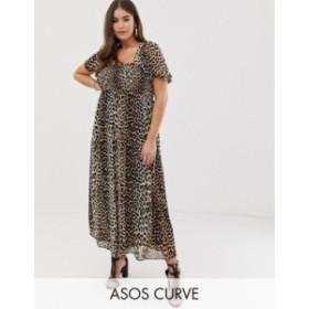 エイソス レディース ワンピース トップス ASOS DESIGN Curve shirred bustier maxi dress with puff sleeve in animal print Leopard pr