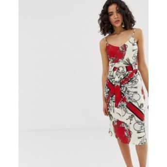 リバーアイランド レディース ワンピース トップス River Island slip dress in scarf print Red print