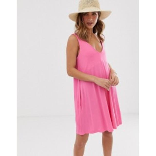 エイソス レディース ワンピース トップス ASOS DESIGN ultimate swing dress with concealed pockets Hot pink
