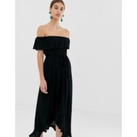 リバーアイランド レディース ワンピース トップス River Island maxi dress with frill in black Black