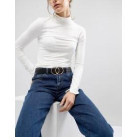 エイソス レディース ベルト アクセサリー ASOS DESIGN leather double circle waist and hip jeans belt Black