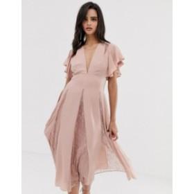 エイソス レディース ワンピース トップス ASOS DESIGN midi dress with lace godet panels Dusty pink