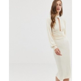エイソス レディース ワンピース トップス ASOS DESIGN slinky keyhole ruched waist midi dress Cream