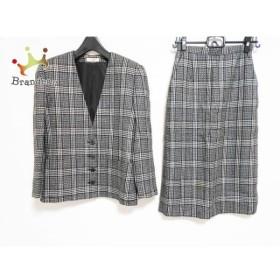 マダムジョコンダ スカートスーツ サイズ9 M レディース 黒×アイボリー チェック柄/肩パッド   スペシャル特価 20190717