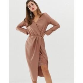リバーアイランド レディース ワンピース トップス River Island wrap dress with lace detail in pink Nude