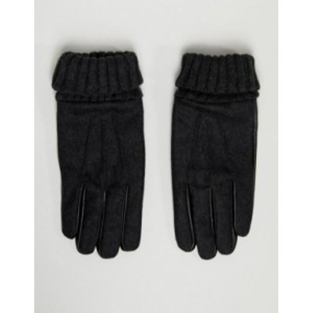 エイソス メンズ 手袋 アクセサリー ASOS DESIGN leather touchscreen gloves in gray melton with cuff detail Grey