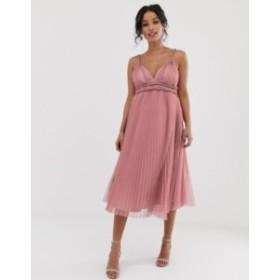 エイソス レディース ワンピース トップス ASOS DESIGN Maternity pleated tulle midi dress with twist detail Rose