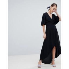 ニュールック レディース ワンピース トップス New Look Wrap Asymmetric Dress Black