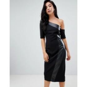 エイソス レディース ワンピース トップス ASOS DESIGN one shoulder pencil dress with faux leather panel Black
