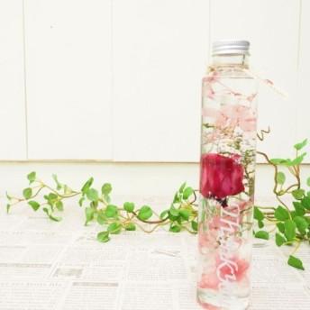 母の日おすすめ 【サンクスボトル】白文字×ピンク ローズ&アジサイ