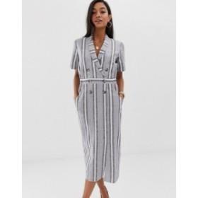 エイソス レディース ワンピース トップス ASOS DESIGN tux midi dress in natural stripe Stripe