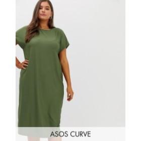 エイソス レディース ワンピース トップス ASOS DESIGN Curve luxe rib oversized midi t-shirt dress Khaki