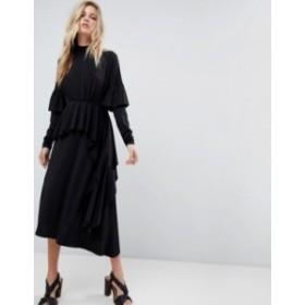 エイソス レディース ワンピース トップス ASOS Deconstructed Tea Dress With Open Back Black