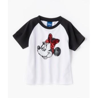 DISNEY スパンコールTシャツ(ミッキー・ミニー) キッズ ブラック*オフホワイト