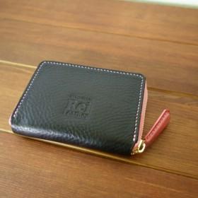 イタリアンレザーの小銭入れ ラウンドファスナー 手縫い ブラック×ピンク