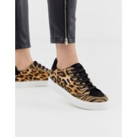 エイソス レディース スニーカー シューズ ASOS DESIGN Dove lace up sneakers in leopard mix Animal mix