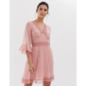 エイソス レディース ワンピース トップス ASOS DESIGN pleated mini dress with lace inserts Rose pink