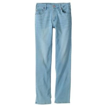 柔らかレーヨン混ストレッチライトデニムストレートパンツ(もっともっとゆったり太もも)(股下78cm) (大きいサイズレディース)パンツ