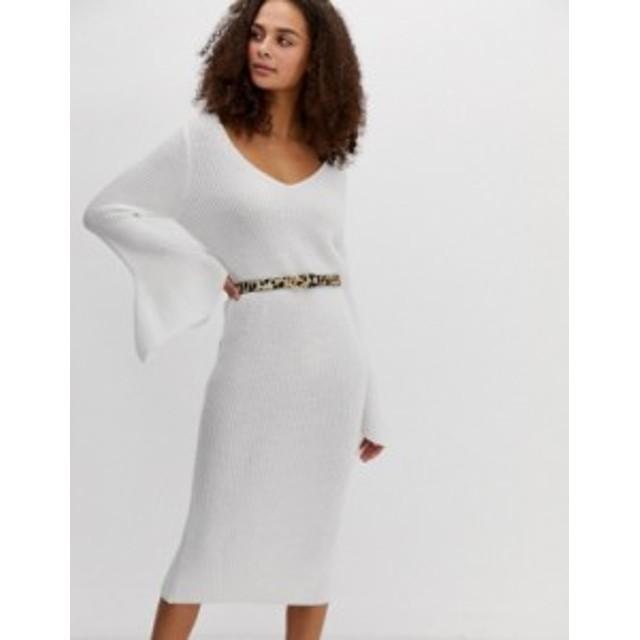 エイソス レディース ワンピース トップス ASOS DESIGN v neck midi dress with flared sleeve White