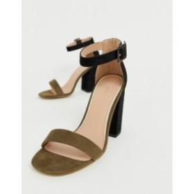 ニュールック レディース ヒール シューズ New Look two tone block heeled sandal in green Green pattern