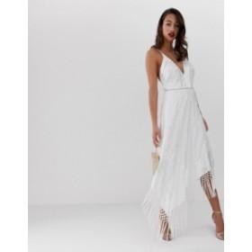 エイソス レディース ワンピース トップス ASOS DESIGN cami midi dress in embroidered floral and fringe hem White