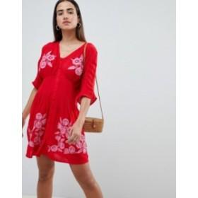エイソス レディース ワンピース トップス ASOS Embroidered Casual Mini Tea Dress with Button Through Red