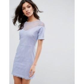 エイソス レディース ワンピース トップス ASOS Lace T-Shirt Dress With Sweetheart Neckline Soft blue