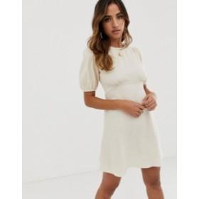 エイソス レディース ワンピース トップス ASOS DESIGN linen mini dress with puff sleeves Stone