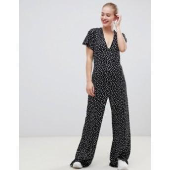 エイソス レディース ワンピース トップス ASOS DESIGN jumpsuit with flutter sleeve and tie back in star print Multi