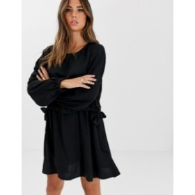 エイソス レディース ワンピース トップス ASOS DESIGN ruched waist chuck on mini dress with long sleeves Black