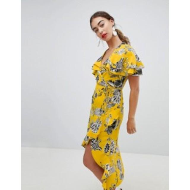 リバーアイランド レディース ワンピース トップス River Island Ruffle Wrap Front Midi Dress Yellow bright print