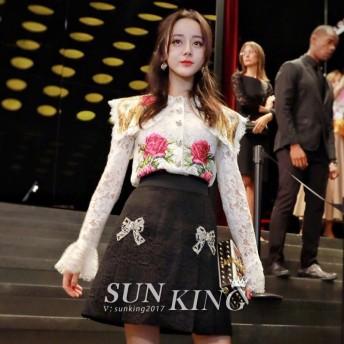 送料無料☆2019 春★最強の新作★韓国ファッション可愛 気質 レディーズ 合わせやすい 刺繍 ハイウェストミニスカート