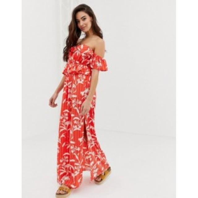 エイソス レディース ワンピース トップス ASOS DESIGN bardot beach maxi dress with ruffles in flamenco floral stripe print Flamenc
