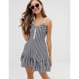エイソス レディース ワンピース トップス ASOS DESIGN mini sundress with button front and pep hem in stripe Navy stripe