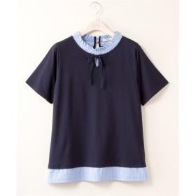 重ね着風衿フリルリボンTシャツ【bi abbey】 (大きいサイズレディース)Tシャツ・カットソー