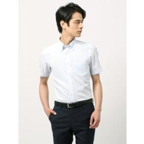 【THE SUIT COMPANY:トップス】【半袖・SUPER EASY CARE】ボタンダウンカラードレスシャツ 織柄 〔EC・BASIC〕