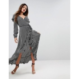 エイソス レディース ワンピース トップス ASOS long sleeve ruffle wrap tea maxi dress in stripe Multi