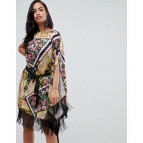 エイソス レディース ワンピース トップス ASOS DESIGN scarf print satin cape midi dress with self tie belt Multi