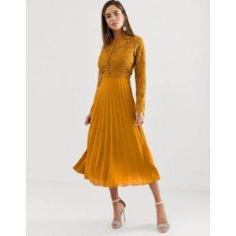 エイソス レディース ワンピース トップス ASOS DESIGN long sleeve lace bodice midi dress with pleated skirt Ochre