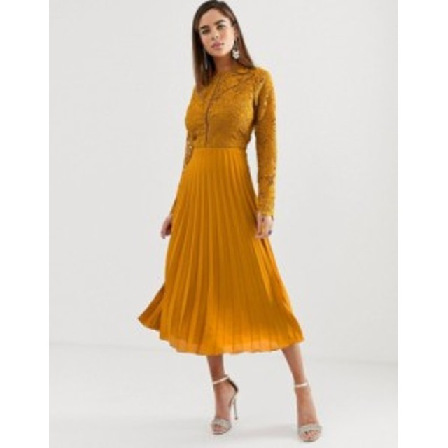 エイソス レディース ワンピース トップス ASOS DESIGN long sleeve lace bodice midi dress with pleated skirt Ochre