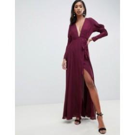 エイソス レディース ワンピース トップス ASOS DESIGN maxi dress in satin with sleeve detail and square neck Plum