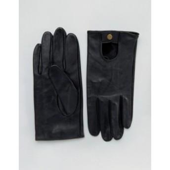 エイソス メンズ 手袋 アクセサリー ASOS Leather Driving Gloves In Black Black
