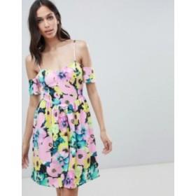 エイソス レディース ワンピース トップス ASOS DESIGN cold shoulder floral print prom dress Floral print