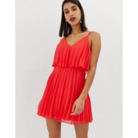 エイソス レディース ワンピース トップス ASOS DESIGN pleated crop top mini dress Bright red