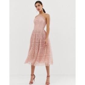 エイソス レディース ワンピース トップス ASOS DESIGN lace midi dress with pinny bodice Soft blush